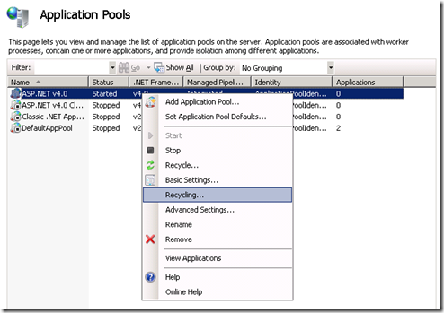 IIS7 Application Pool recycling