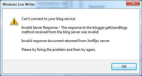 Invalid response document returned from XmlRpc server