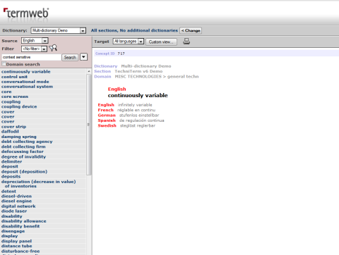 TermWeb's appearance suggests that HTML 4.1 is still in vogue and that proprietary user controls are still acceptable.